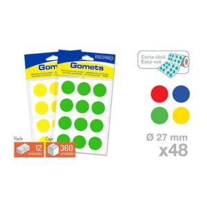 Blister 48 Gomets -Circulo 27 mm.(Colores parchis)