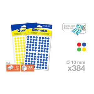 Blister 384 Gomets - Circulo 10 mm. (Colores parchis)