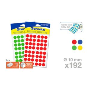 Blister 192 Gomets - Circulo 15 mm. (Colores parchis)