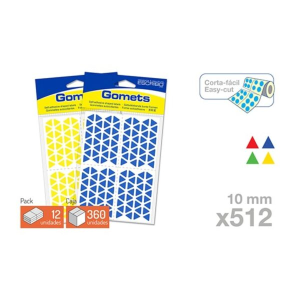 Blister 512 Gomets - Triangulo 10 mm. (Colores parchis)