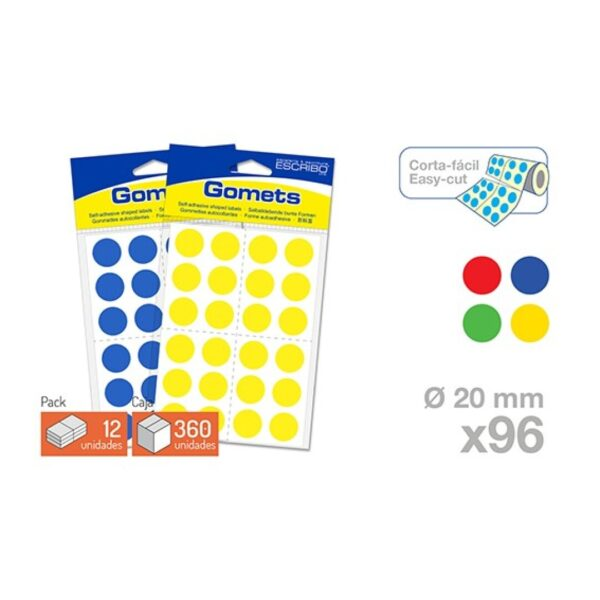 Blister 96 Gomets -Circulo 20 mm.(Colores parchis)