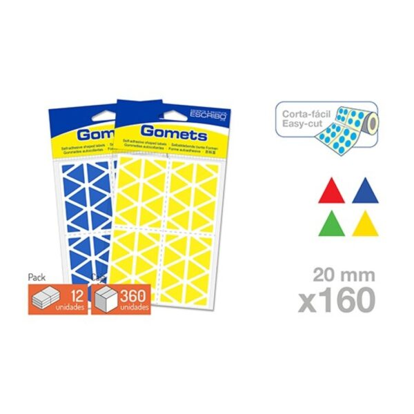 Blister 160 Gomets - Triangulo 20 mm. (Colores parchis)
