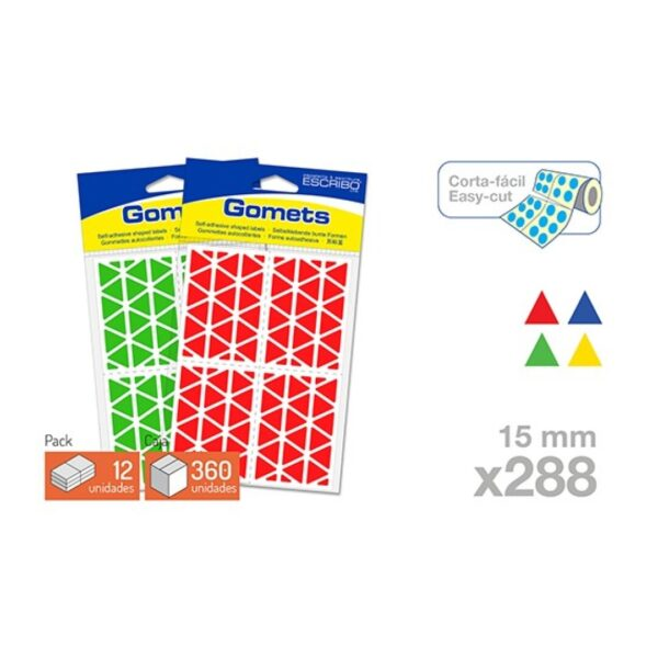 Blister 288 Gomets - Triangulo 15 mm. (Colores parchis)