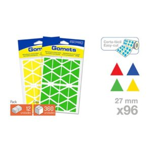 Blister 96 Gomets - Triangulo 27 mm. (Colores parchis)