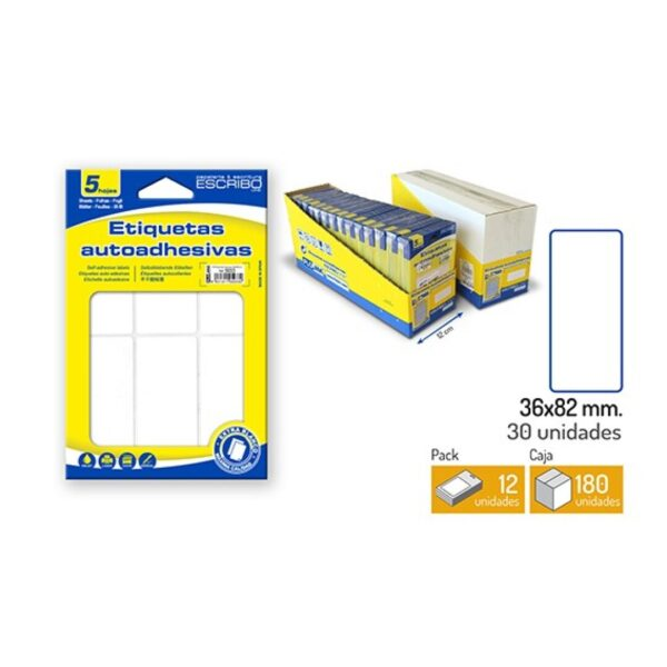 30 Etiquetas Adhesivas - Blanco 36 x 82 mm.