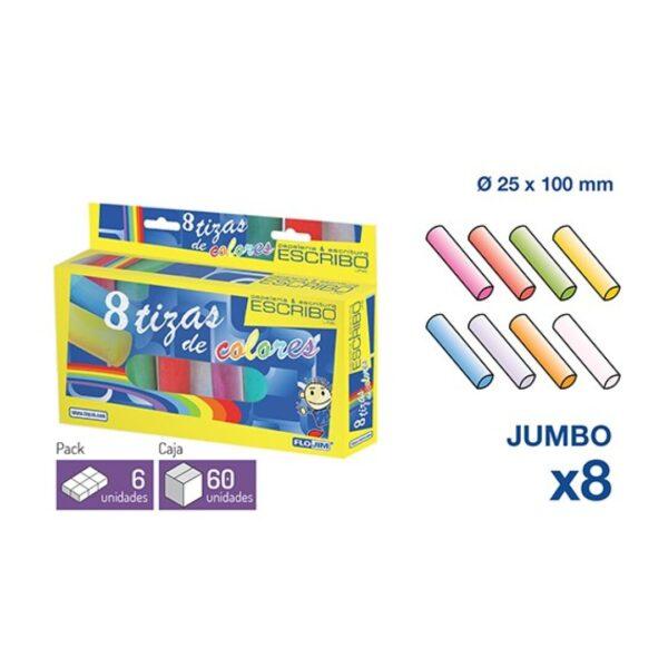 8 Tizas JUMBO - Colores surtidos Ø 25 mm. x 10 cm