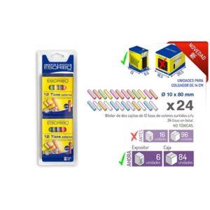 Blister 24 Tizas-Colores Surtidos Ø 10mm x 8 cm