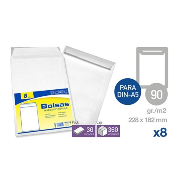 Pack 8 Sobres Autoadhesivos - 229 x 162 mm. (DIN-A5)