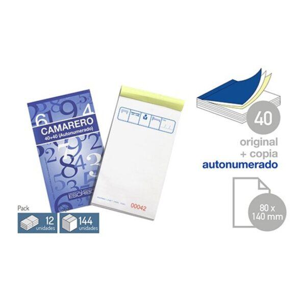 Talonario Camarero - 80 x 135 mm. (Bolsillo) 40 juegos 1 copia Autonumerado
