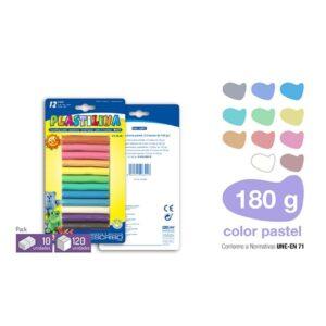 Blister 12 barras Plastilina - Colores Pastel 180g