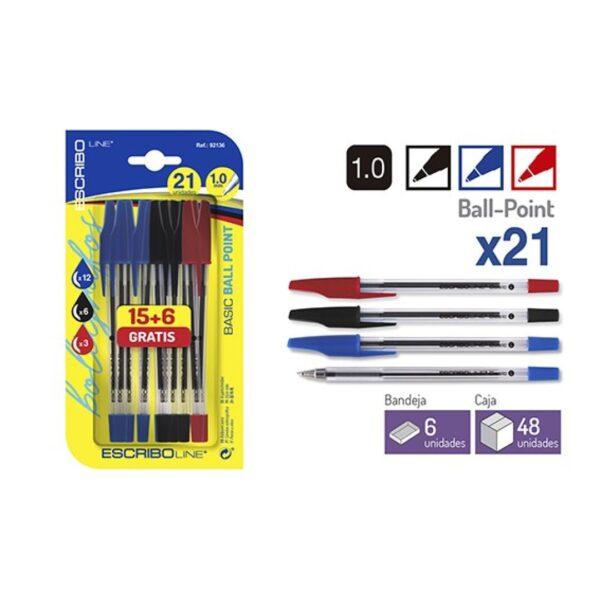 Blister 21 Boligrafos BASIC -Azul/Negro/Rojo 1.0mm