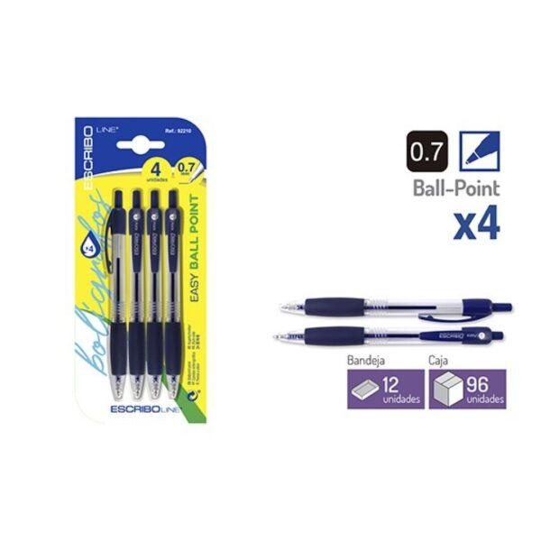 Blister 4 Boligrafos EASY BALL POINT- Azul 0,7 mm.