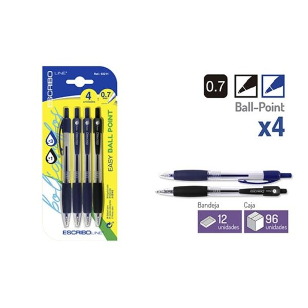 Blister 4 Boligrafos EASY BALL POINT-A/N 0,7 mm.