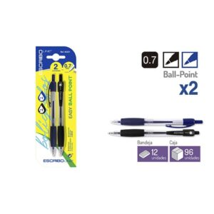 Blister 2 Boligrafos EASY BALL POINT- A/N 0,7 mm.