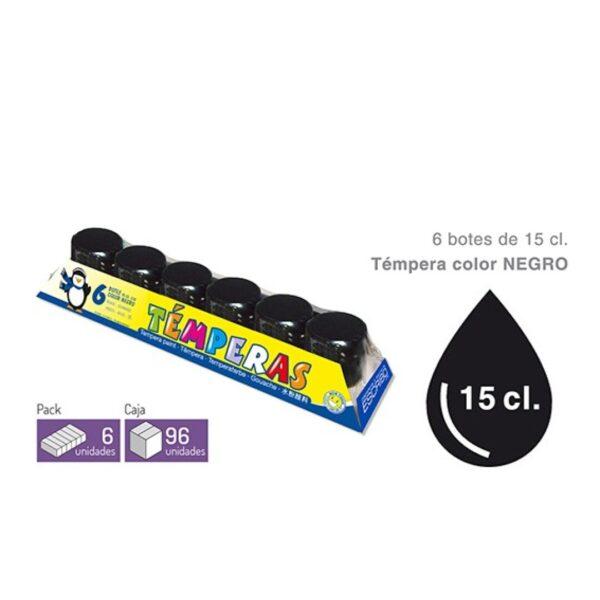 Pack 6 Botes Tempera - Color NEGRO