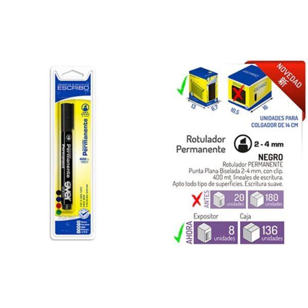 Blister Rotulador Permanente - Negro Punta Biselada 2-4 mm