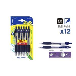 Blister 12 Boligrafos EASY BALL POINT-Azul 1.0 mm.