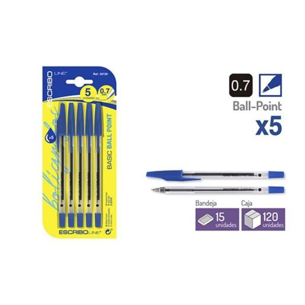 Blister 5 Boligrafos BASIC - Azul 0.7 mm.