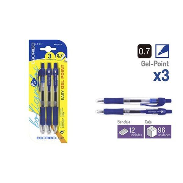 Blister 3 Boligrafos EASY GEL POINT- Azul 0,7 mm.
