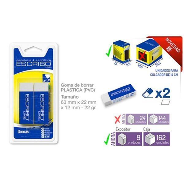 Blister 2 Gomas Plástico 440 Escribo Line