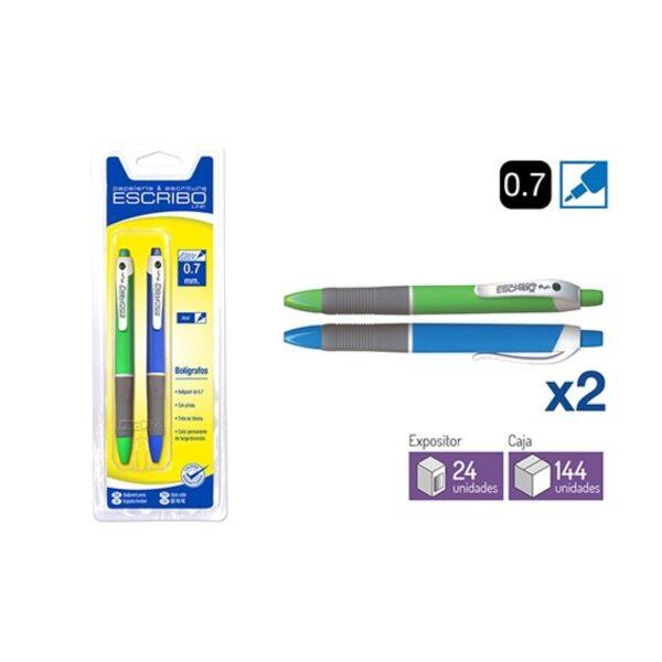 Blister 2 Boligrafos FUN - Azul 0,7 mm.