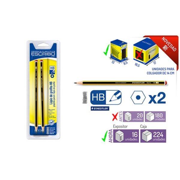 Blister 2 Lapices STAEDTLER Noris HB hexagonal