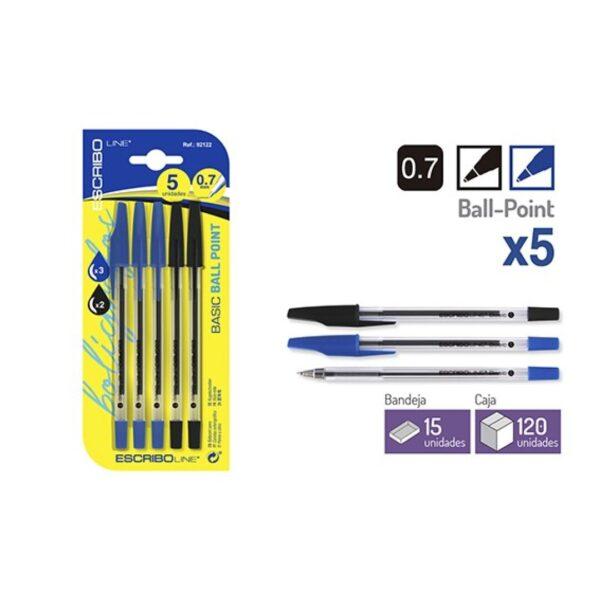 Blister 5 Boligrafos BASIC - Azul/Negro 0.7 mm.