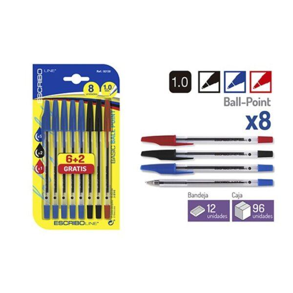 Blister 8 Boligrafos BASIC -Azul/Negro/Rojo 1.0mm.