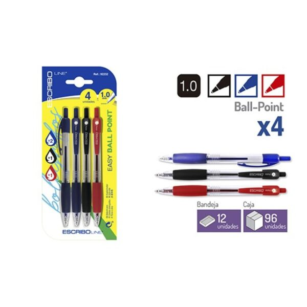 Blister 4 Boligrafos EASY BALL POINT-A/N/R 1.0 mm.