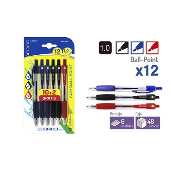 Blister 12 Boligrafos EASY BALL POINT-A/N/R 1.0 mm