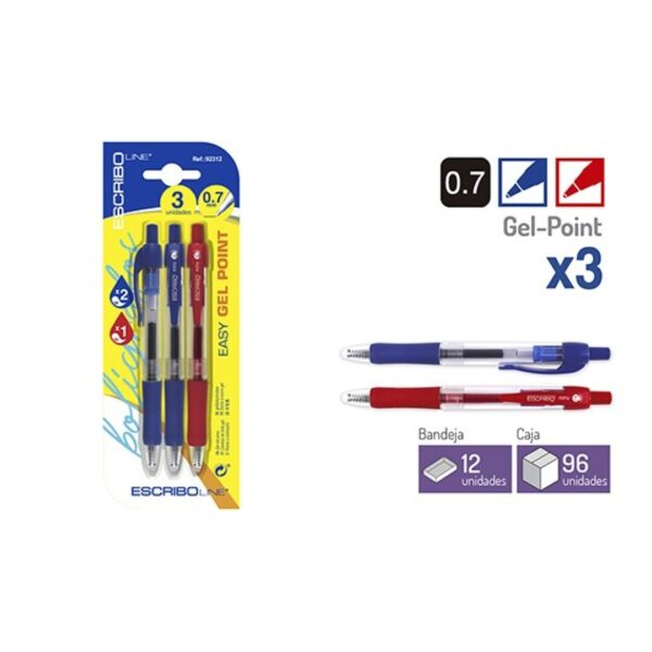 Blister 3 Boligrafos EASY GEL POINT- A/R 0,7 mm.