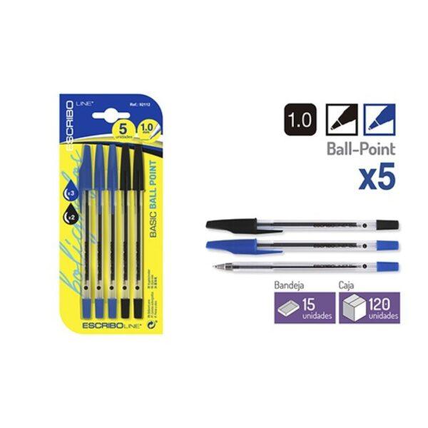 Blister 5 Boligrafos BASIC - Azul/Negro 1 mm.