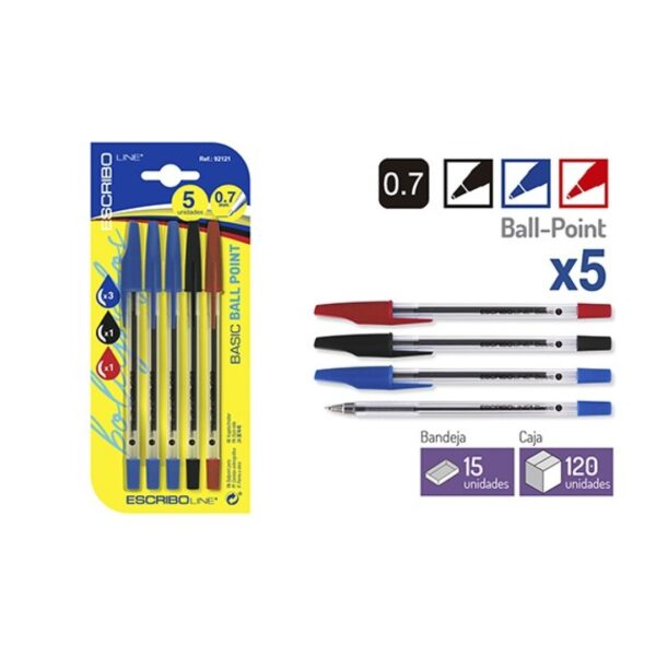 Blister 5 Boligrafos BASIC-Azul/Negro/Rojo 0,7 mm.