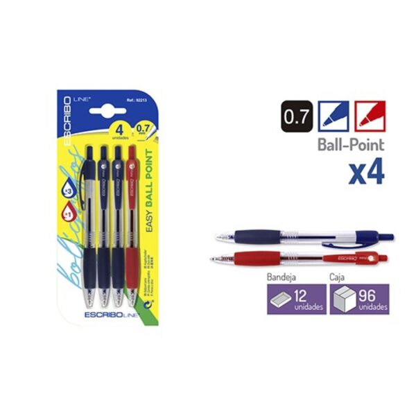 Blister 4 Boligrafos EASY BALL POINT-A/R 0,7 mm.