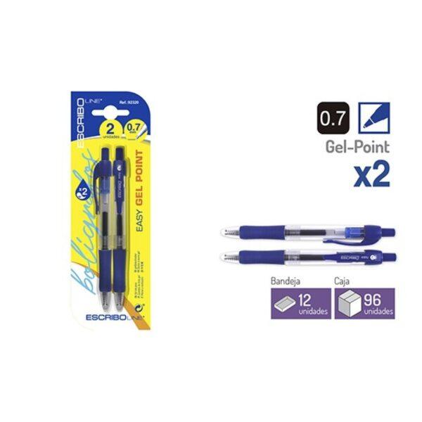 Blister 2 Boligrafos EASY GEL POINT- Azul 0,7 mm.