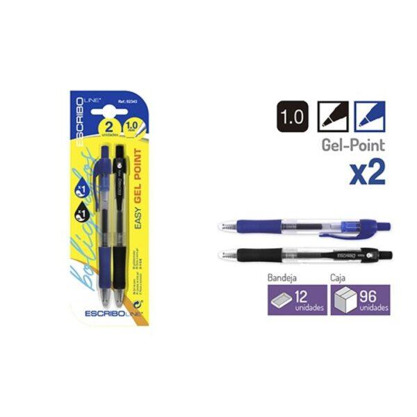 Blister 2 Boligrafos EASY GEL POINT- A/N 1.0 mm.
