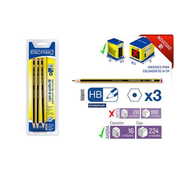 Blister 3 Lapices STAEDTLER Noris HB hexagonal