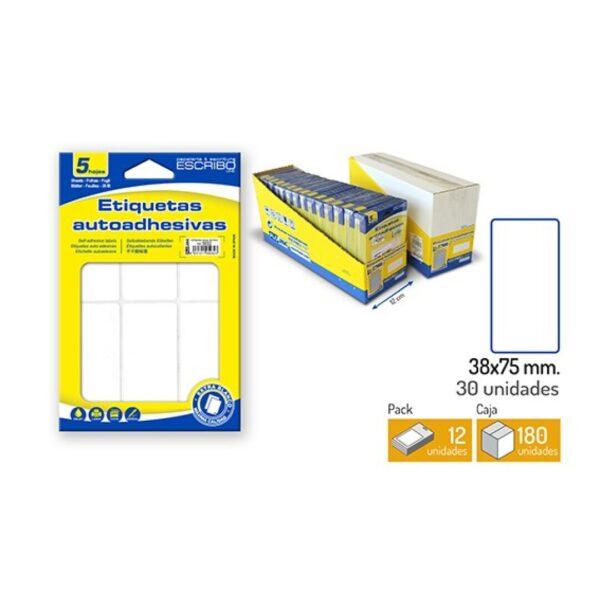 30 Etiquetas Adhesivas - Blanco 40 x 75 mm.