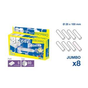 8 Tizas JUMBO - Blanco Ø 25 mm. x 10 cm.