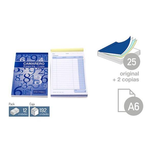 Talonario Camarero - DIN-A6 25 juegos 2 copias