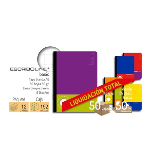 Cuaderno Basico A6 60H 60gr Lineas Union Lateral