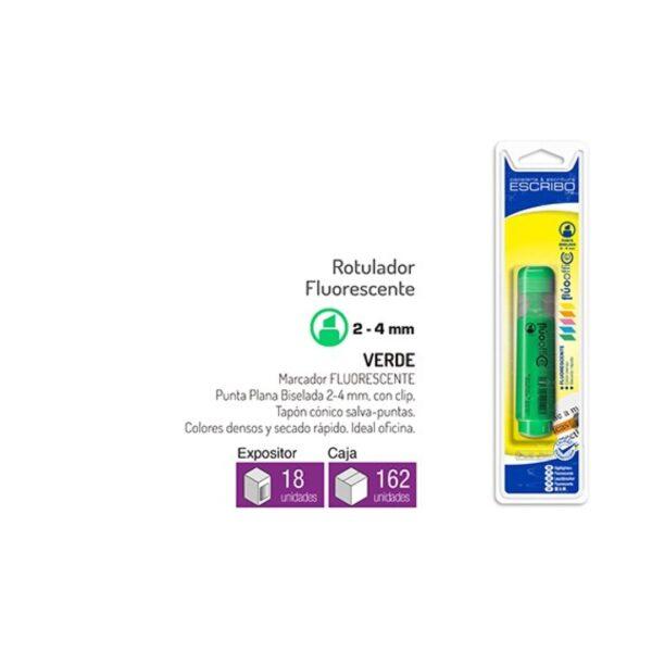 Blister Rotulador Fluorescente - Verde Punta Biselada 2-5mm FLUOOFFICE