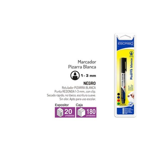 Blister Rotulador Pizarra Blanca - Negro Punta Redonda 1-3mm