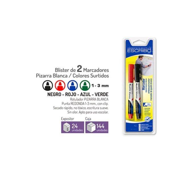 Blister 2 Rotuladores Pizarra Blanca - Punta Redonda 1-3mm