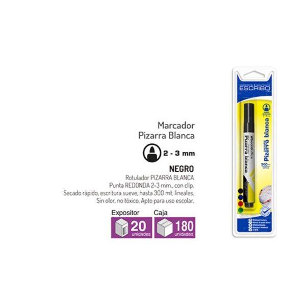 Blister Rotulador Pizarra Blanca - Negro Punta Redonda 2-3mm