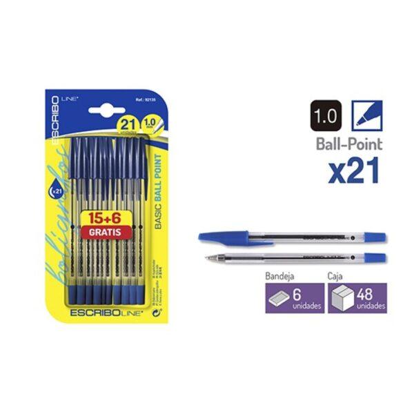 Blister 21 Boligrafos BASIC - Azul 1.0 mm.