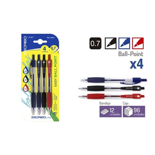 Blister 4 Boligrafos EASY BALL POINT-A/N/R 0,7 mm.