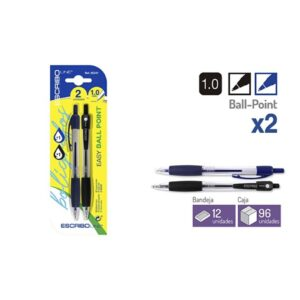 Blister 2 Boligrafos EASY BALL POINT- A/N 1.0 mm.