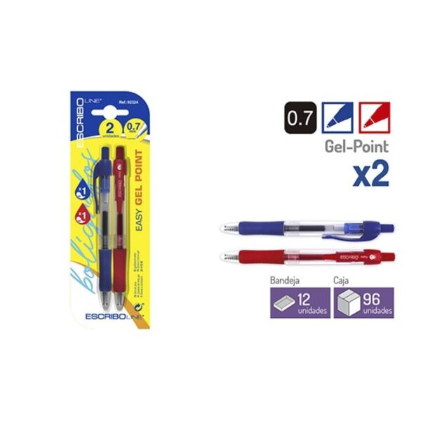 Blister 2 Boligrafos EASY GEL POINT- A/R 0,7 mm.
