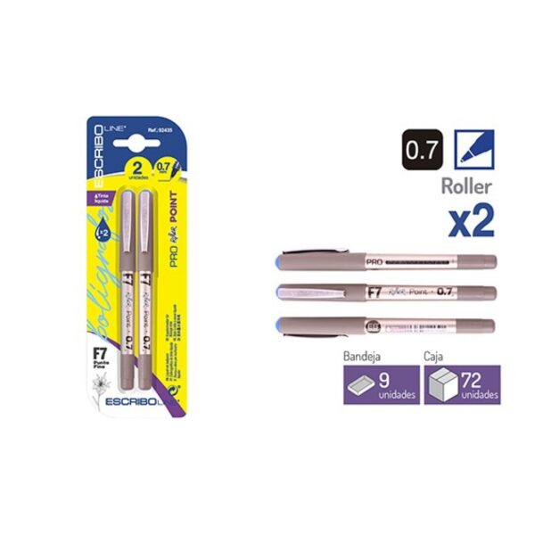 Blister 2 Rollers Azules - 0,7 mm